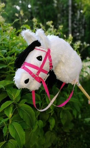 Hobbyhorse, white hairy, bridles